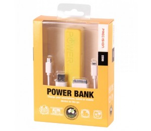 Laser 2200mah Emergency Power Bank With 3 In 1 Charging Cable Precision Yellow Pb-2200p-yel