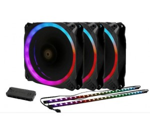 Antec Prizm 120 Argb 3+2+c 3x Rgb Dual Ring Pwm Fan 2 X Led Strip And 1x Rgb Fan Controller