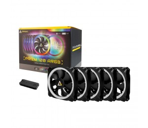 Antec Prizm 120 Argb 5+c 5 In 1 Pack With 5x 12cm Rgb Dual Ring Pwm Fans And 1x Fan Controller.
