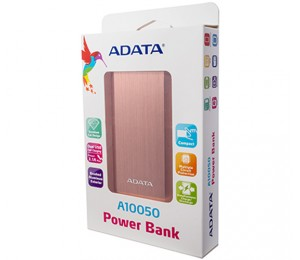 AData A10050 Power Bank Rose Gold 10050mAh Dual USB 1+2.1A, Synchronous Charge/ Discharge, Aluminum Casing
