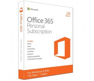 MICROSOFT OFFICE 365 PERSONAL SUBSCR 1YR RETAIL BOX MEDIALESS P2 QQ2-00645