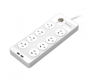 Huntkey Sac804 8-outlet Surge Protected Powerboard With Dual 5v 2.1a Usb Charging Ports Ideal