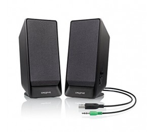 Creative Speakers: 2.0 Black USB 1Wx2 RMS/ Channel Built-in Bass Port Magnetically Shielded 70db