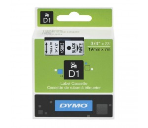 DYMO Easy Peel Split Back 19mm D1 Tape/ 19mm X 7m/ Black on White/ Single cassette system/ Thermal