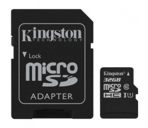 Kingston 32GB microSDHC Canvas Select 80R CL10 UHS-I Card + SD Adapter SDCS/32GB