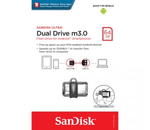 SANDISK OTG ULTRA DUAL USB DRIVE 3.0 FOR ANDRIOD PHONES 64GB 150MB/S SDDD3-64G FUSSAN64GSDDD3