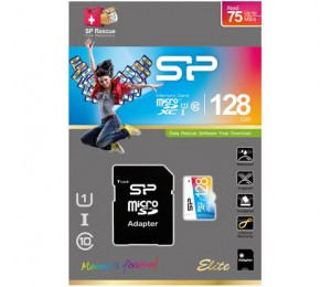 Silicon Power 128GB Micro SDXC UHS-1 Class10, up to 75MB/s, Elite Flash with Adaptor SP128GBSTXBU1V20SP