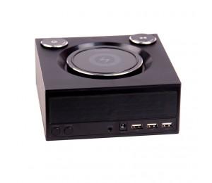 Laser Qi Wireless Charging Alarm Clock With Bluetooth Speaker Spk-qc002