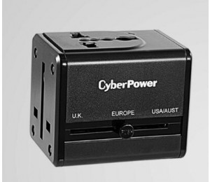 Cyberpower Travel Adaptor Universal Outlet: Uk Eu Us Au Plug & 2 Port 2.4a Usb Charger (5v) - 1
