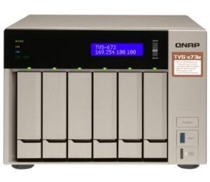 QNAP TVS-673E-4G 6 BAY NAS (NO DISK) m.2 SSD SLOT(2) 4GB RX-421BD GbE(4) HDMI TWR 2YR TVS-673E-4G