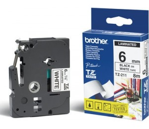 Brother | TZE-211 Laminated Tape 6mm x 8m - Black on White TZE-211
