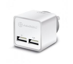 Alogic 2 Port Usb Mini Wall Charger - 2.4a + 1a - 17w - White Wc2a17mwh