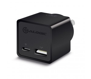 Alogic 2 Port Combo Usb-C & Usb-A Mini Wall Charger 3A + 2.4A - Black Wcca17Mbk