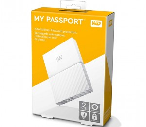 Western Digital 2TB WD My Passport Portable USB3.0 Hard Drive And Auto Backup Software White