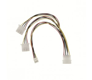 Wicked Wired 30cm Male 4pin Molex To Dual Female 4pin Molex & Floppy Power Splitter Cable Ww-p-pc4psplit30cm 183066