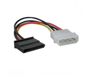 Wicked Wired 18cm Male 4pin Molex To Female 15pin Sata Power Adapter Cable Ww-p-pcsata18cm 183061