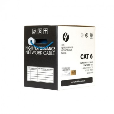 4Cabling Cat6 Ethernet 305M Cable Reel Box. Solid Conductor. Blue Sld.C6Utp.Blue.R