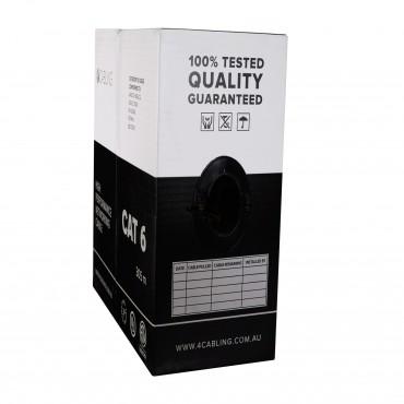 Cat 6 Ethernet Cable w Solid Conductors 305m Reel Box - BLACK SLD.C6UTP.BLACK.R