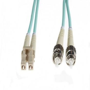4Cabling 15M Lc-St Om4 Multimode Fibre Optic Cable: Aqua