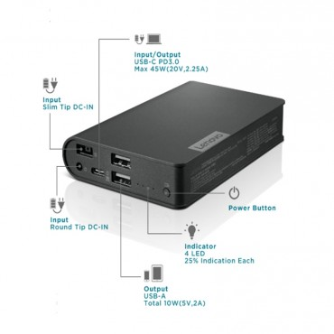 Lenovo USB-C Laptop Power Bank 14000mAh 40AL140CWW, Extra Power on the Go