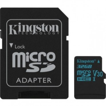 Kingston 32gb Msdxc Canvas Go 90r/45w U3 Uhs-i V30 Card + Sd Adapter Sdcg2/32gb