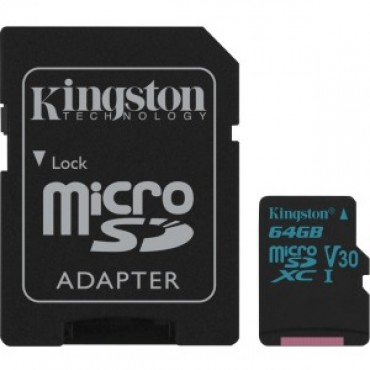 Kingston 64gb Msdxc Canvas Go 90r/45w U3 Uhs-i V30 Card + Sd Adapter Sdcg2/64gb