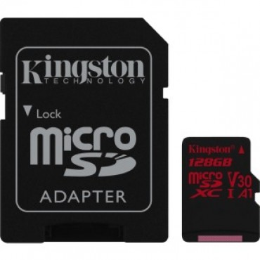 Kingston 128gb Microsdxc Canvas React 100r/80w U3 Uhs-i V30 A1 Card+sd Sdcr/128gb