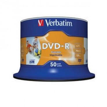Verbatim 16x DVD-R: 4.7GB Spindle 50pc Printable DVD-RVP50 (43533)