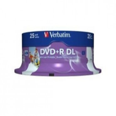 Verbatim DVD+R DL 8.5GB 25Pk White Wide IJ 8x 43667