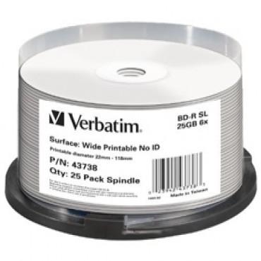 Verbatim Blu-ray 25gb 25pk Spindle White Wide Inkjet 6x 43738 144516