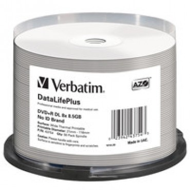 Verbatim DVD+R DL 8.5GB 50Pk White Thermal 2.4x 43754