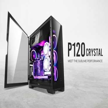 Antec P120 Crystal Tempered Glass Atx E-Atx Powerful Heat Dissipation Vga Holder Horizontal And Vertical Scalability Slide Panel Gaming Case P120 Crystal