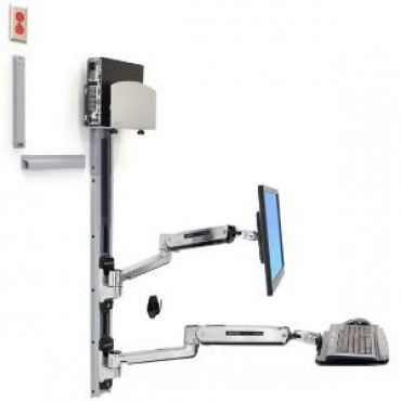 ERGOTRON LX Sit Stand Wall Mount System, Med Silver CPU Holder, Polished 45-358-026