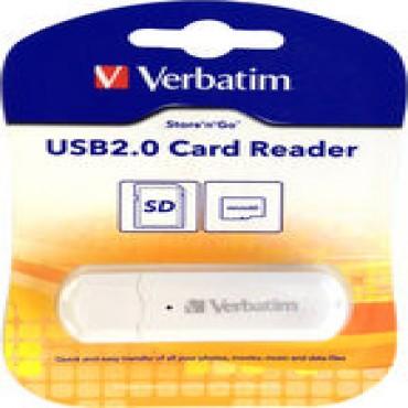 Verbatim USB SD & Micro SD Card Reader - White - SD SDHC SDHC UHS-1 SDXC SDXC UHS-1 microSD microSDHC