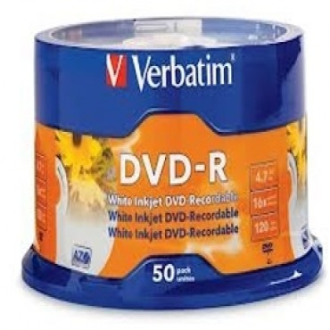 Verbatim Dvd-r 50pk Spindle - White Inkjet Printable 4.7gb 16x 95137