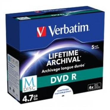 Verbatim M-Disc Dvd R 4.7Gb 5Pk Jc White Ij Print 43821