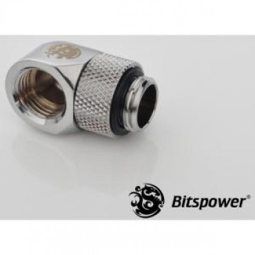 Bitspower G1/4 Rotary 90d Ig1/4 Extender Sliver 90-degree Type With 360-degree Rotation. True Hi-flow Design With Hi-quality Brass Material Bp-90r