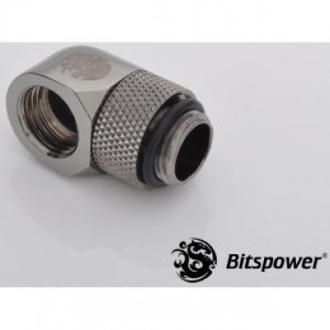 Bitspower G1/4 Rotary Ig1/4 Extender 90-degree Type With 360-degree Rotation. True Hi-flow Design With Hi-quality Brass Material. High Durability Nickel Finished In Black Sparkle Color. Hiding O-ring Design. Bp-bs90r