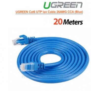 Ugreen Cat6 Utp Lan Cable Blue Color 26awg Cca 20m (11206) Acbugncat6m20