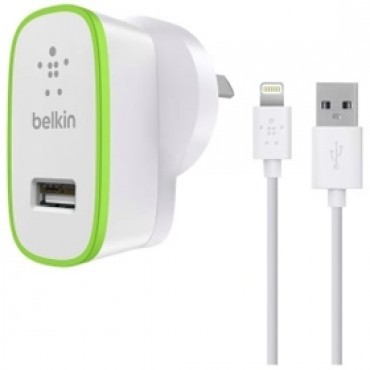 Belkin Boost Up 12w Wall Charger With Lightning Charge/ Sync Cable F8j125au04-wht