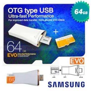 Samsung Micro Sdxc Uhs-i Card Otg 64gb On The Go Type Usb Otg & Usb & Card 3 In 1 (cv-oe064ga00)