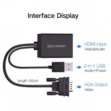 UGREEN VGA to HDMI Converter BLACK 60814 Acbugn60814
