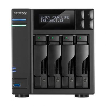 Asustor 4-bay Nas Intel Celeron Quad-core 4 Gb So-dimm Ddr3l Gbe X 2 Usb 3.0 & Esata Wol System
