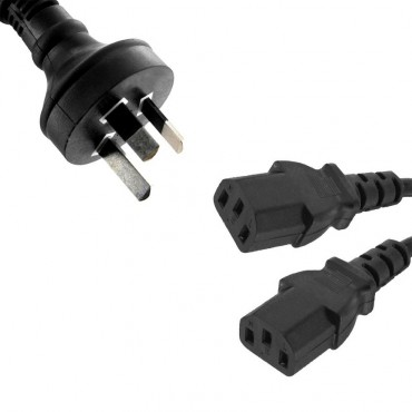 8Ware Power Cable 1M 3-Pin Au To 2 Iec C13 Male To Female Rc-3085Au-010