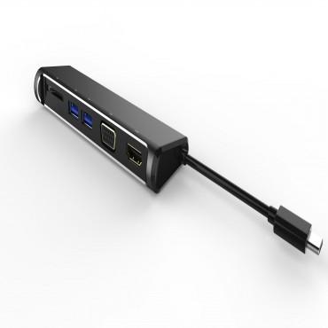 Astrotek All-in-One Dock 2 Multi-Port Hub Thunderbolt USB-C 3.1 Type-C to HDMI+VGA+2xUSB3.0+Card