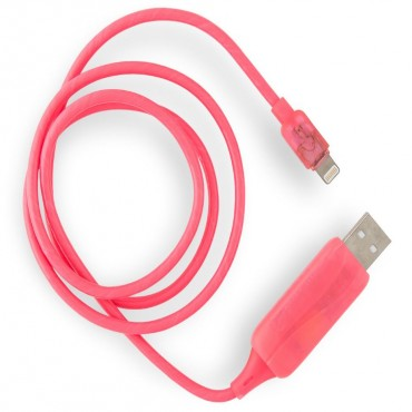 8Ware Visible Flowing Usb Lightning Charging Cable - Pink Ck-Vs801L-Pn