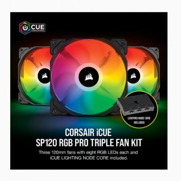 Corsair Sp 120Mm Fan Rgb Pro Triple Pack With Lighting Node Core Icue Software Co-9050094-Ww