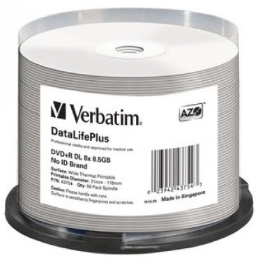 Verbatim Dvd+rdl 8.5gb 50pk Wide Thermal Print 8x 43754