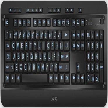 Azio Kb505U Large Print Tri-Color Illuminating Ergonomic Wired Usb Keyboard Kb505U