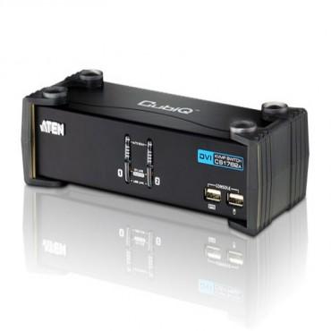 Aten 2 Port USBDVI KVMP Switch w/ USB Hub, Audio, Cables Include CS-1762A